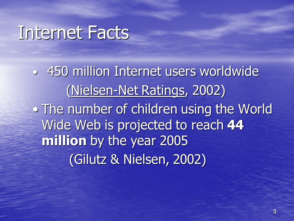 3 Internet Facts 450 million Internet users worldwide 450 million Internet users worldwide (Nielsen-Net Ratings, 2002) (Nielsen-Net Ratings, 2002) The