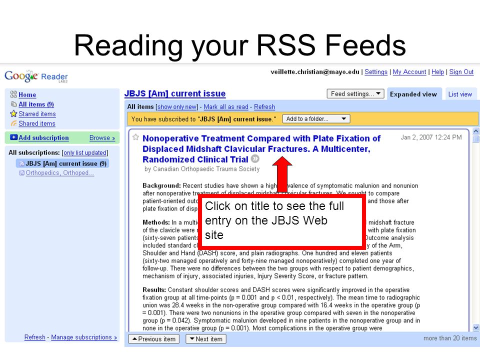 Reading your RSS Feeds Click on title to see the full entry on the JBJS Web site