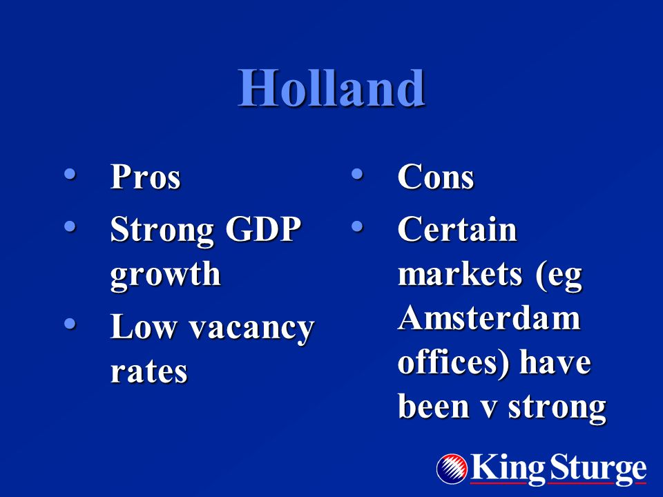 Holland Pros Pros Strong GDP growth Strong GDP growth Low vacancy rates Low vacancy rates Cons Cons Certain markets (eg Amsterdam offices) have been v strong Certain markets (eg Amsterdam offices) have been v strong