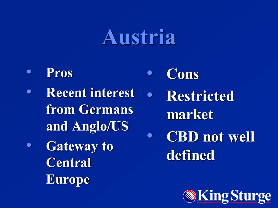 Austria Pros Pros Recent interest from Germans and Anglo/US Recent interest from Germans and Anglo/US Gateway to Central Europe Gateway to Central Europe Cons Cons Restricted market Restricted market CBD not well defined CBD not well defined