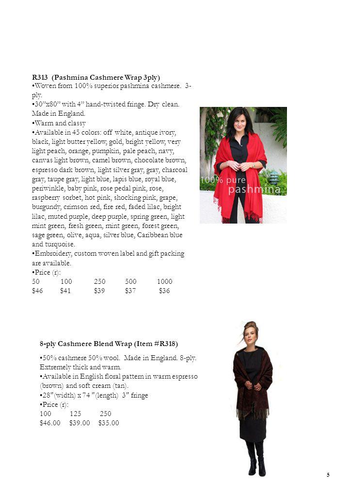 3-ply 100% Pure Pashmina Cashmere Shawl Wrap R313 (Pashmina Cashmere Wrap 3ply) Woven from 100% superior pashmina cashmere.