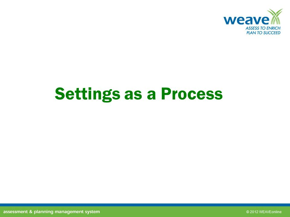 Settings as a Process