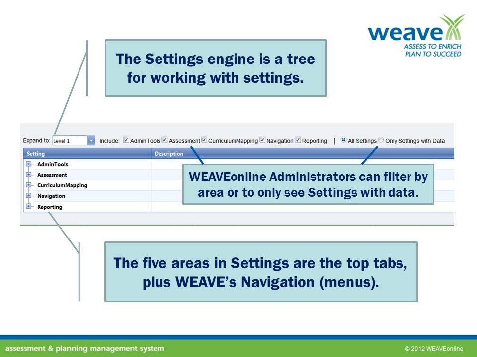 The Settings engine is a tree for working with settings.