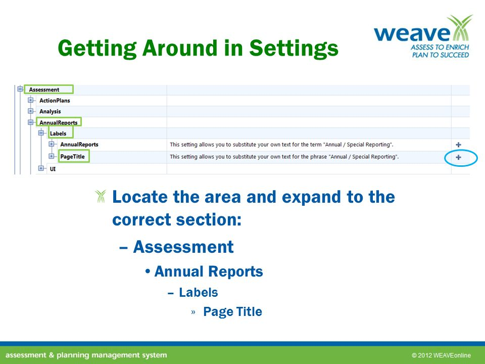 Getting Around in Settings Locate the area and expand to the correct section: –Assessment Annual Reports –Labels »Page Title