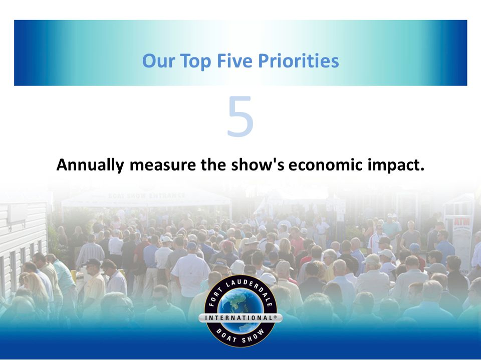 5 Our Top Five Priorities Annually measure the show s economic impact.