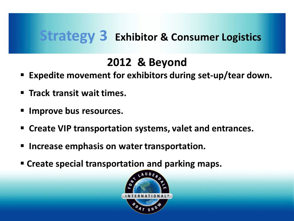 Strategy 3 Exhibitor & Consumer Logistics 2012 & Beyond Expedite movement for exhibitors during set-up/tear down.