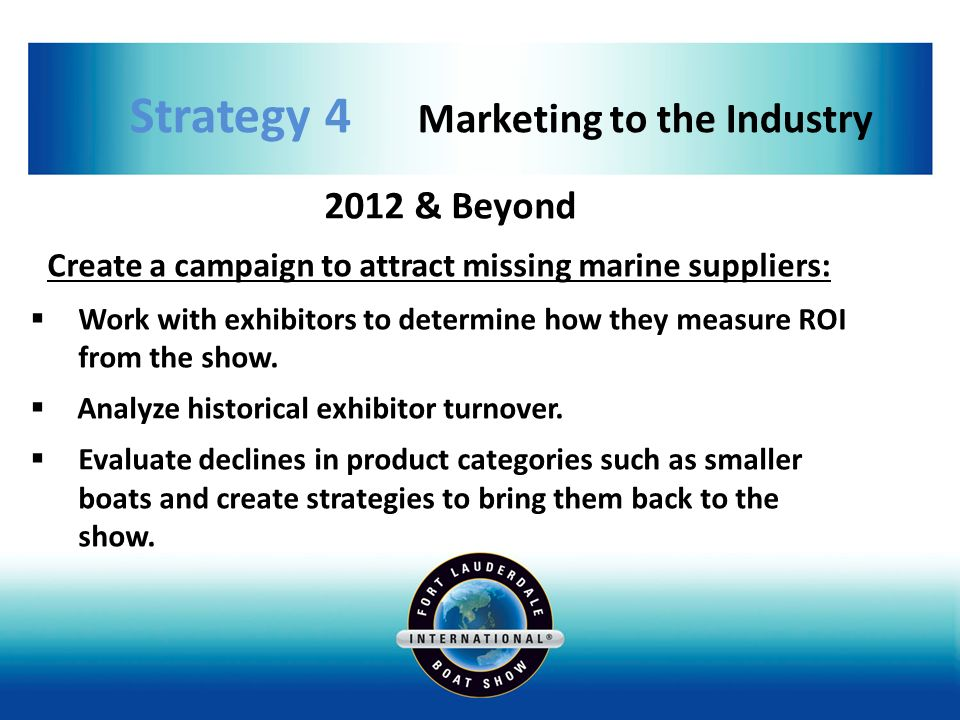 Strategy 4 Marketing to the Industry 2012 & Beyond Create a campaign to attract missing marine suppliers: Work with exhibitors to determine how they measure ROI from the show.