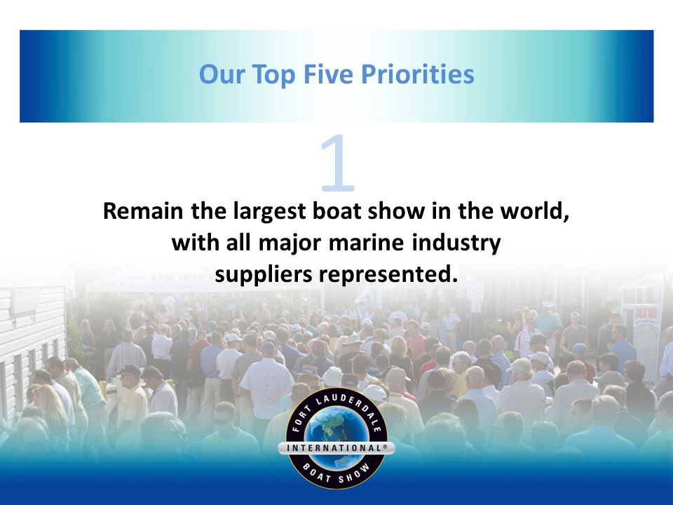 1 Our Top Five Priorities Remain the largest boat show in the world, with all major marine industry suppliers represented.