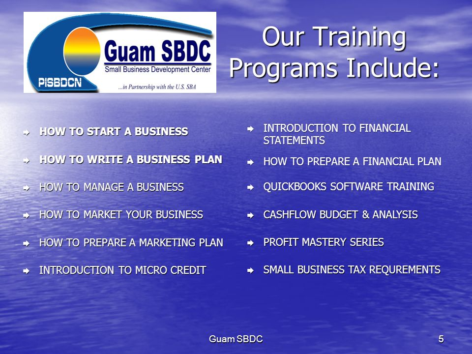 Our Training Programs Include: HOW TO START A BUSINESS HOW TO START A BUSINESS HOW TO WRITE A BUSINESS PLAN HOW TO WRITE A BUSINESS PLAN HOW TO MANAGE