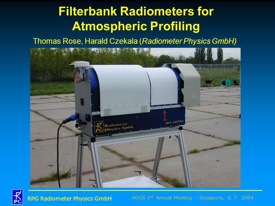 AOGS 1 st Annual Meeting – Singapore, 6. 7. 2004 RPG Radiometer Physics GmbH Filterbank Radiometers for Atmospheric Profiling Thomas Rose, Harald Czek