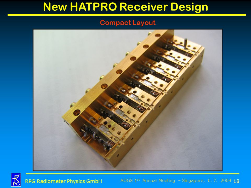AOGS 1 st Annual Meeting – Singapore, 6. 7. 2004 RPG Radiometer Physics GmbH New HATPRO Receiver Design 18 Compact Layout