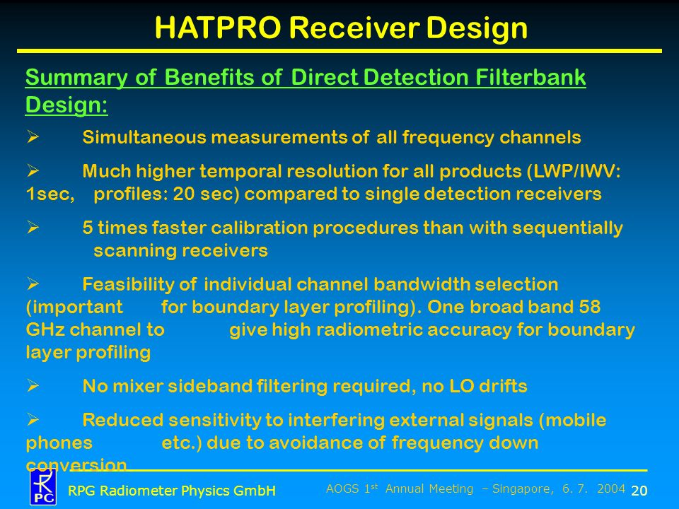 AOGS 1 st Annual Meeting – Singapore, 6. 7. 2004 RPG Radiometer Physics GmbH HATPRO Receiver Design 20 Summary of Benefits of Direct Detection Filterb