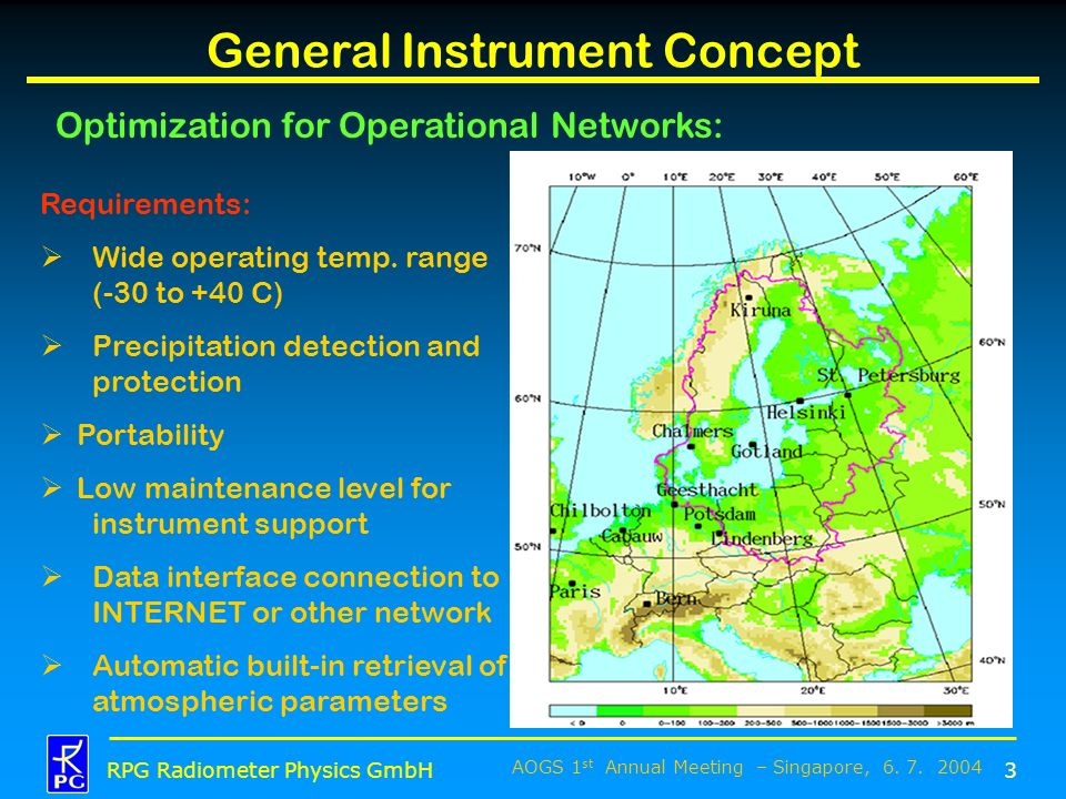 AOGS 1 st Annual Meeting – Singapore, 6. 7. 2004 RPG Radiometer Physics GmbH General Instrument Concept Optimization for Operational Networks: 3 Requi