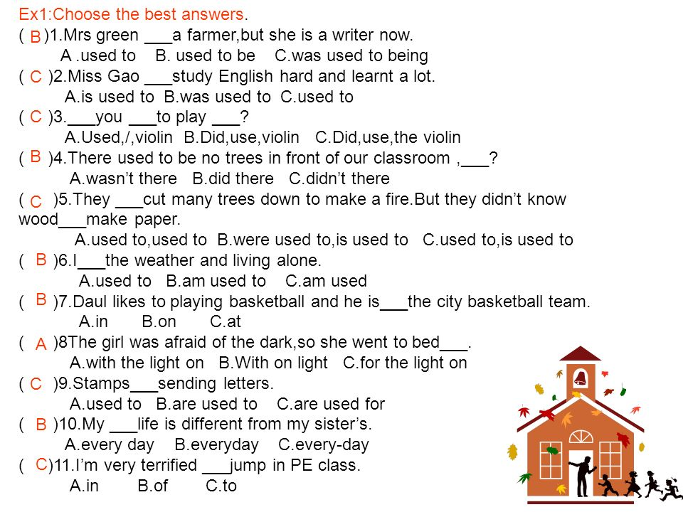 Ex1:Choose the best answers.( )1.Mrs green ___a farmer,but she is a writer now.
