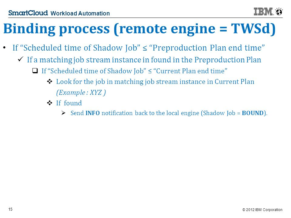 © 2012 IBM Corporation 15 Workload Automation Binding process (remote engine = TWSd) If Scheduled time of Shadow Job Preproduction Plan end time If a matching job stream instance in found in the Preproduction Plan If Scheduled time of Shadow Job Current Plan end time Look for the job in matching job stream instance in Current Plan (Example : XYZ ) If found Send INFO notification back to the local engine (Shadow Job = BOUND).