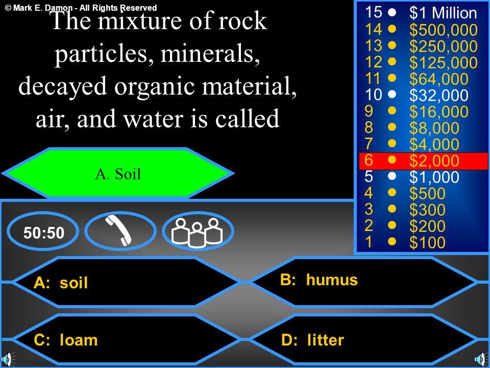 © Mark E. Damon - All Rights Reserved A: soil C: loam B: humus D: litter 50:50 15 14 13 12 11 10 9 8 7 6 5 4 3 2 1 $1 Million $500,000 $250,000 $125,0