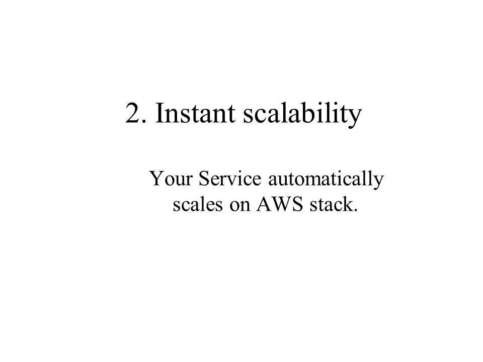 2. Instant scalability Your Service automatically scales on AWS stack.