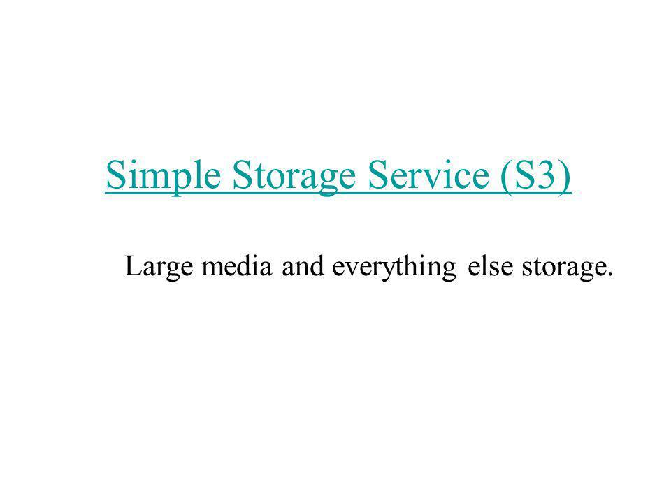 Simple Storage Service (S3) Simple Storage Service (S3) Large media and everything else storage.