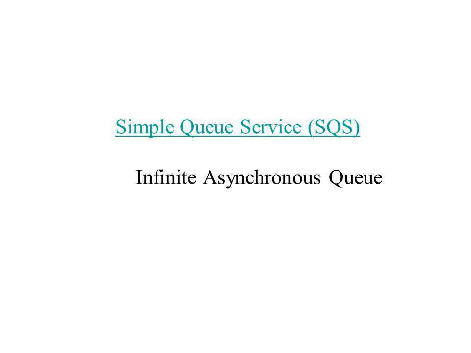 Simple Queue Service (SQS) Simple Queue Service (SQS) Infinite Asynchronous Queue