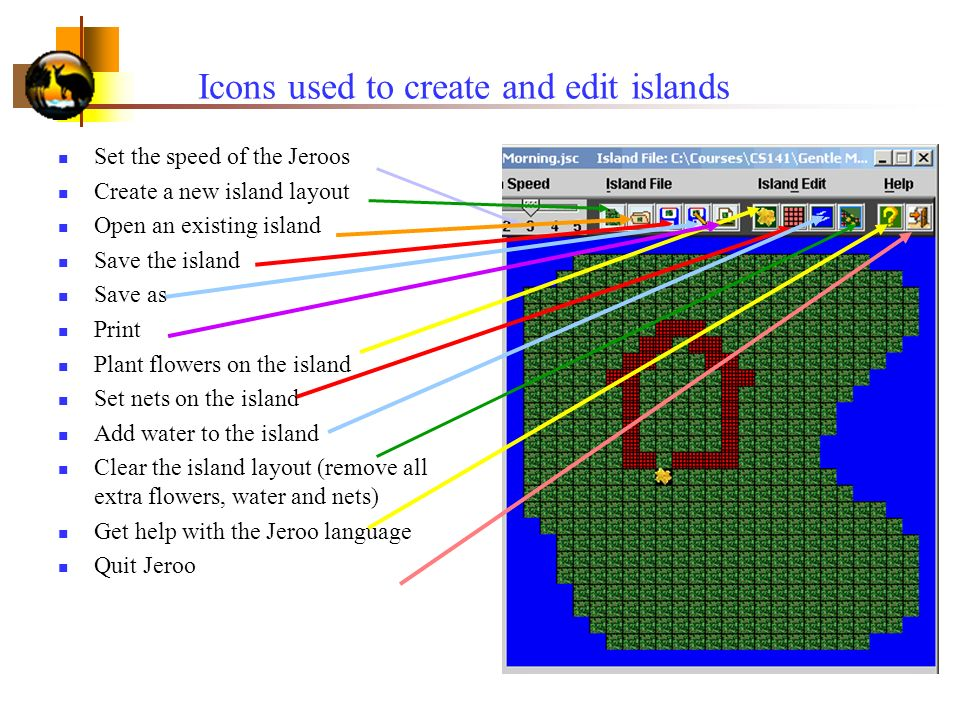Icons used to create and edit islands Set the speed of the Jeroos Create a new island layout Open an existing island Save the island Save as Print Plant flowers on the island Set nets on the island Add water to the island Clear the island layout (remove all extra flowers, water and nets) Get help with the Jeroo language Quit Jeroo
