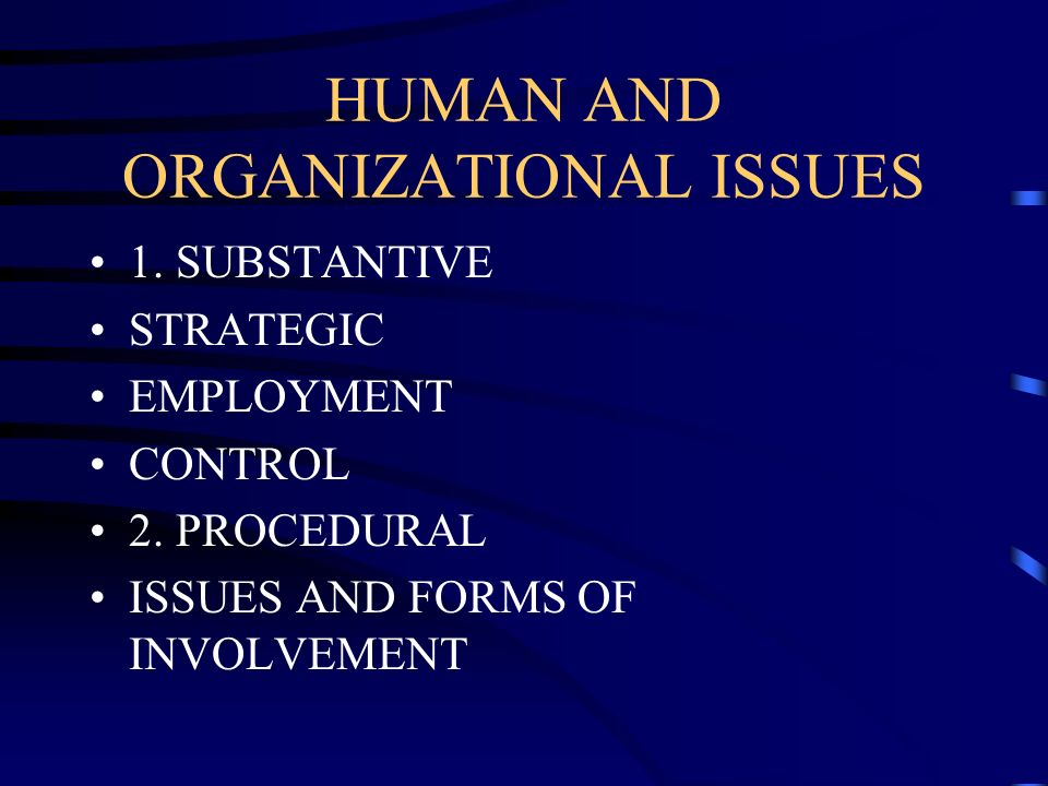 HUMAN AND ORGANIZATIONAL ISSUES 1. SUBSTANTIVE STRATEGIC EMPLOYMENT CONTROL 2. PROCEDURAL ISSUES AND FORMS OF INVOLVEMENT