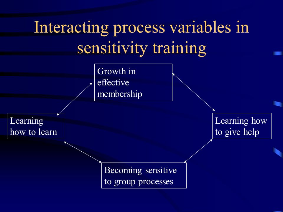 Interacting process variables in sensitivity training Growth in effective membership Learning how to learn Learning how to give help Becoming sensitiv
