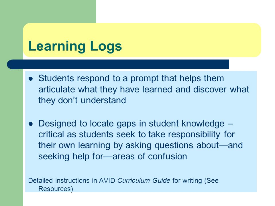 Learning Logs Students respond to a prompt that helps them articulate what they have learned and discover what they dont understand Designed to locate