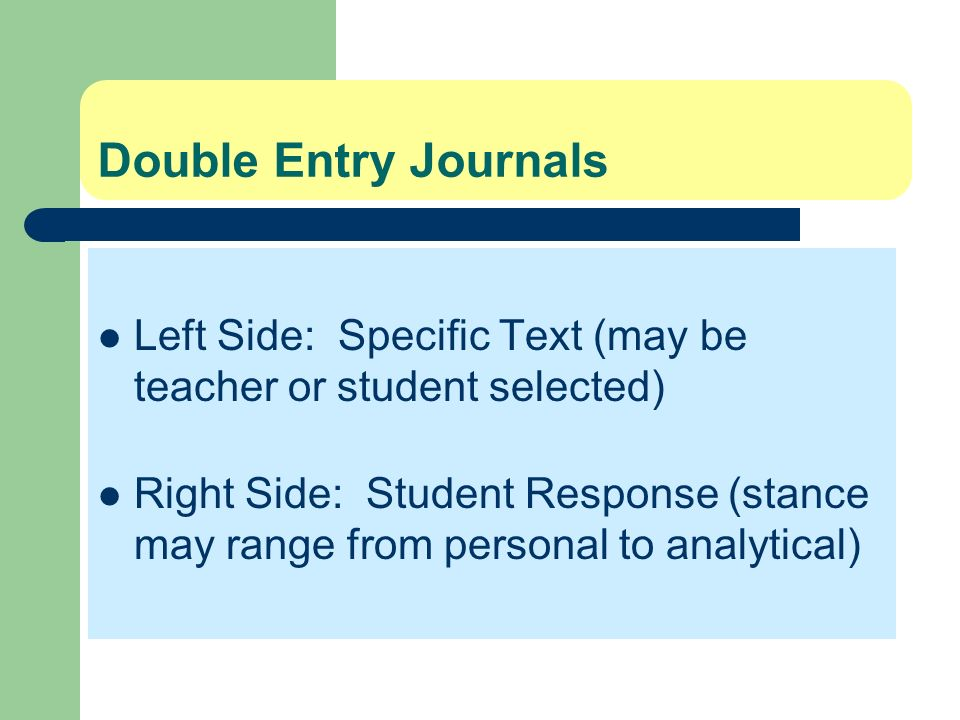 Double Entry Journals Left Side: Specific Text (may be teacher or student selected) Right Side: Student Response (stance may range from personal to an