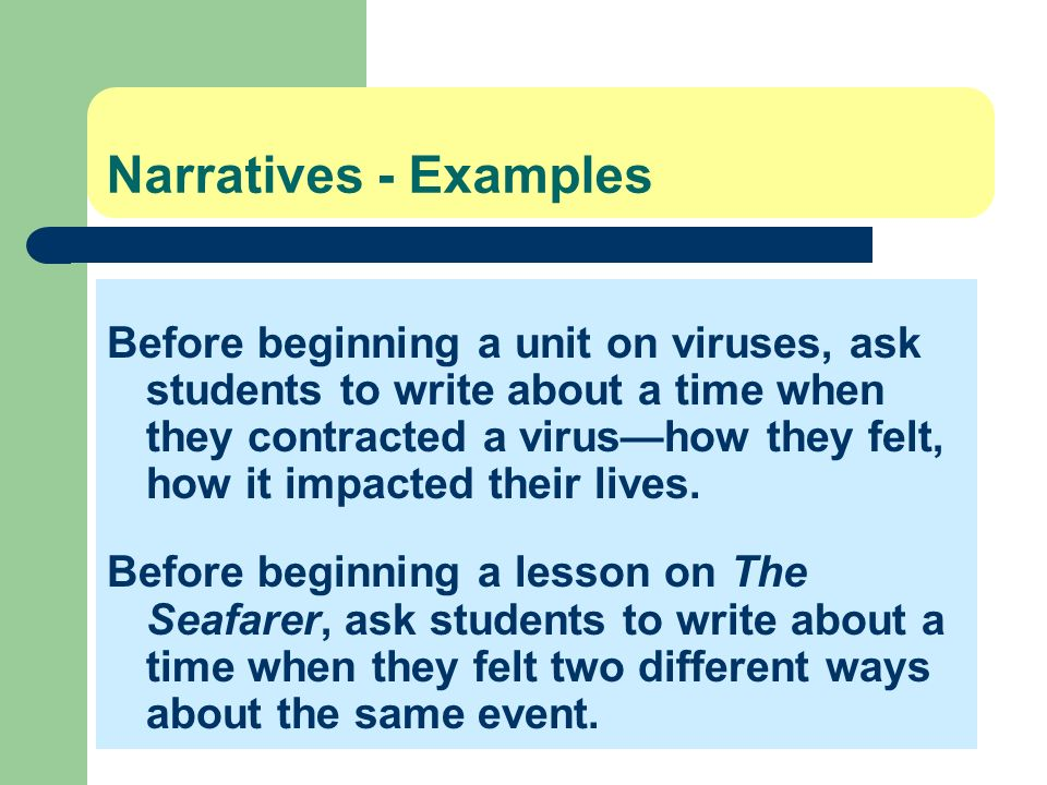 Narratives - Examples Before beginning a unit on viruses, ask students to write about a time when they contracted a virushow they felt, how it impacte