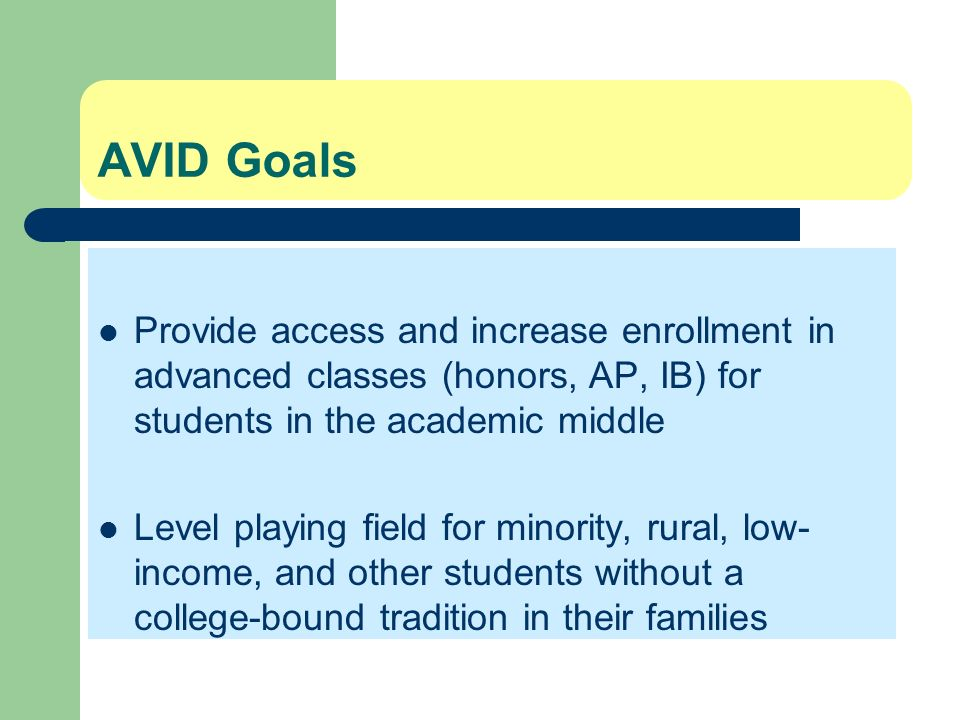 AVID Goals Provide access and increase enrollment in advanced classes (honors, AP, IB) for students in the academic middle Level playing field for min