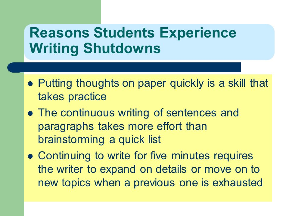 Reasons Students Experience Writing Shutdowns Putting thoughts on paper quickly is a skill that takes practice The continuous writing of sentences and