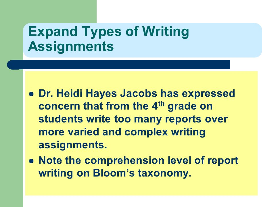types of writing assignments