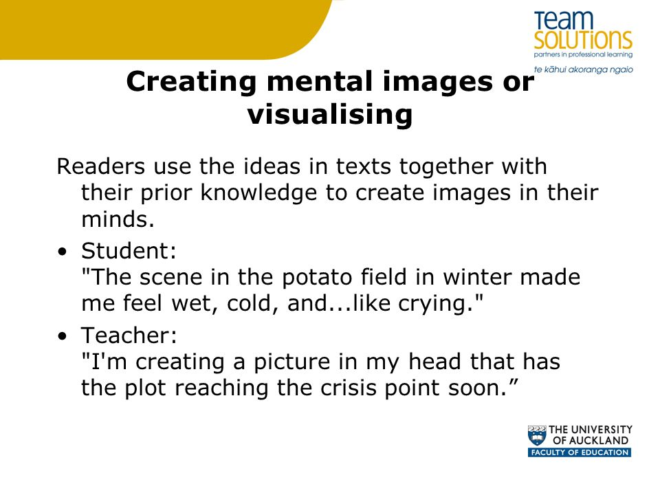 Creating mental images or visualising Readers use the ideas in texts together with their prior knowledge to create images in their minds. Student: