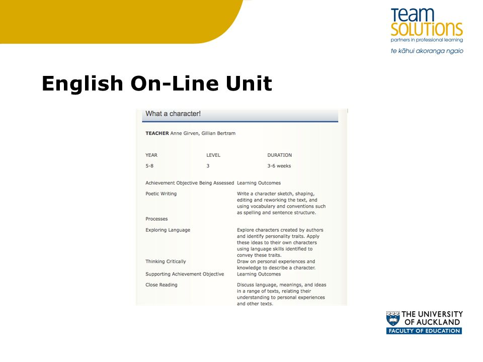 English On-Line Unit
