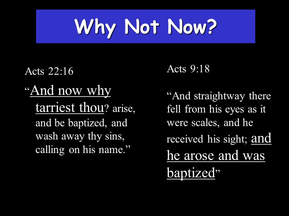 Why Not Now? Acts 9:18 And straightway there fell from his eyes as it were scales, and he received his sight; and he arose and was baptized Acts 22:16