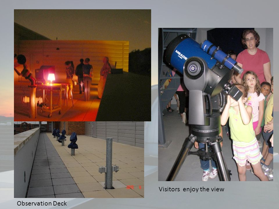 We also have a number of smaller telescopes that can be mounted on our observing deck. We use these telescope to teach students how to use a telescope