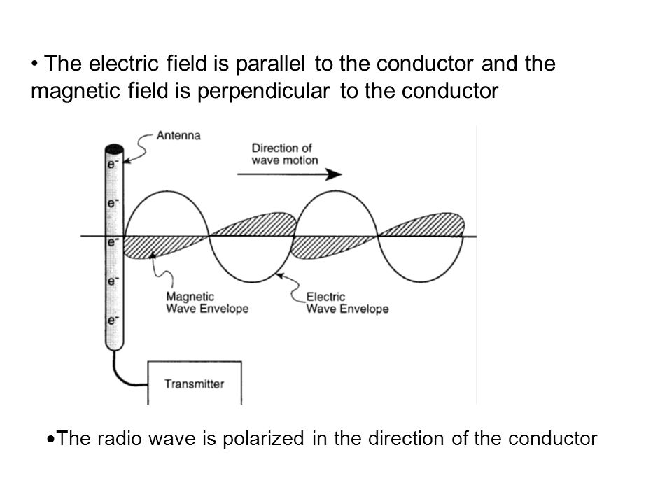 The electric field is parallel to the conductor and the magnetic field is perpendicular to the conductor The radio wave is polarized in the direction
