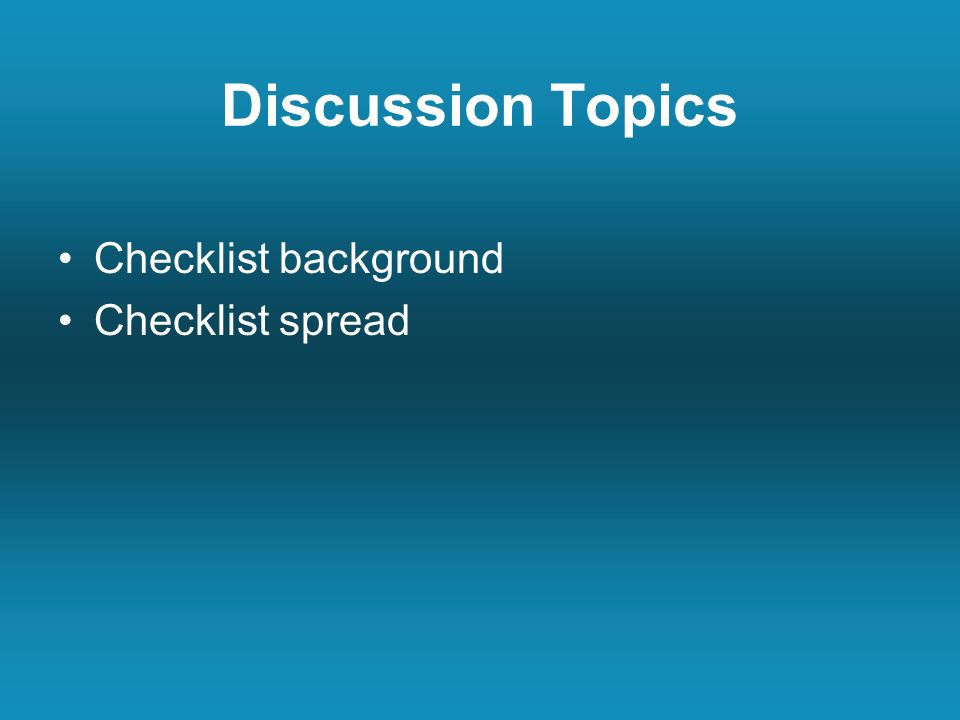Discussion Topics Checklist background Checklist spread