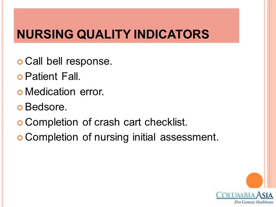 NURSING QUALITY INDICATORS Call bell response. Patient Fall. Medication error. Bedsore. Completion of crash cart checklist. Completion of nursing init