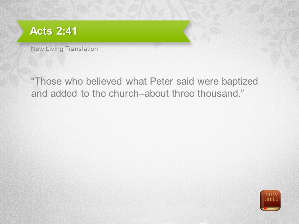 Acts 2:41 Those who believed what Peter said were baptized and added to the church–about three thousand.