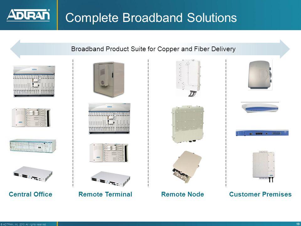 19 ® ADTRAN, Inc. 2010 All rights reserved Complete Broadband Solutions Central OfficeRemote TerminalCustomer PremisesRemote Node Broadband Product Su