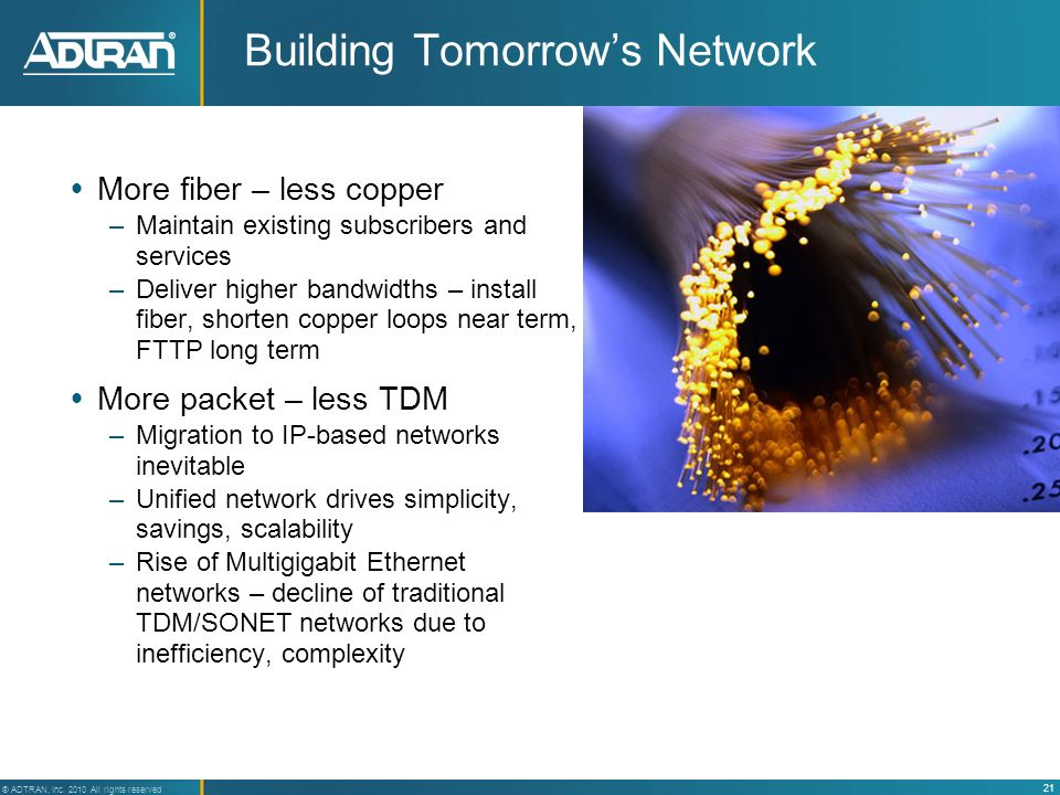 21 ® ADTRAN, Inc. 2010 All rights reserved Building Tomorrows Network More fiber – less copper –Maintain existing subscribers and services –Deliver hi