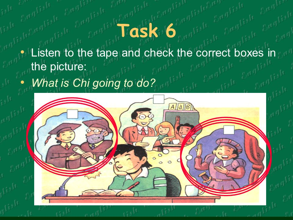 Task 6 Listen to the tape and check the correct boxes in the picture: What is Chi going to do