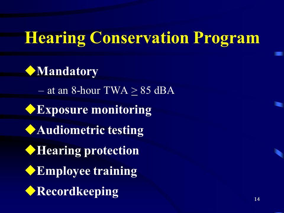 14 Hearing Conservation Program uMandatory –at an 8-hour TWA > 85 dBA uExposure monitoring uAudiometric testing uHearing protection uEmployee training