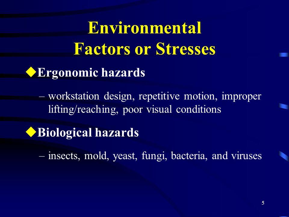 5 Environmental Factors or Stresses uErgonomic hazards –workstation design, repetitive motion, improper lifting/reaching, poor visual conditions uBiol