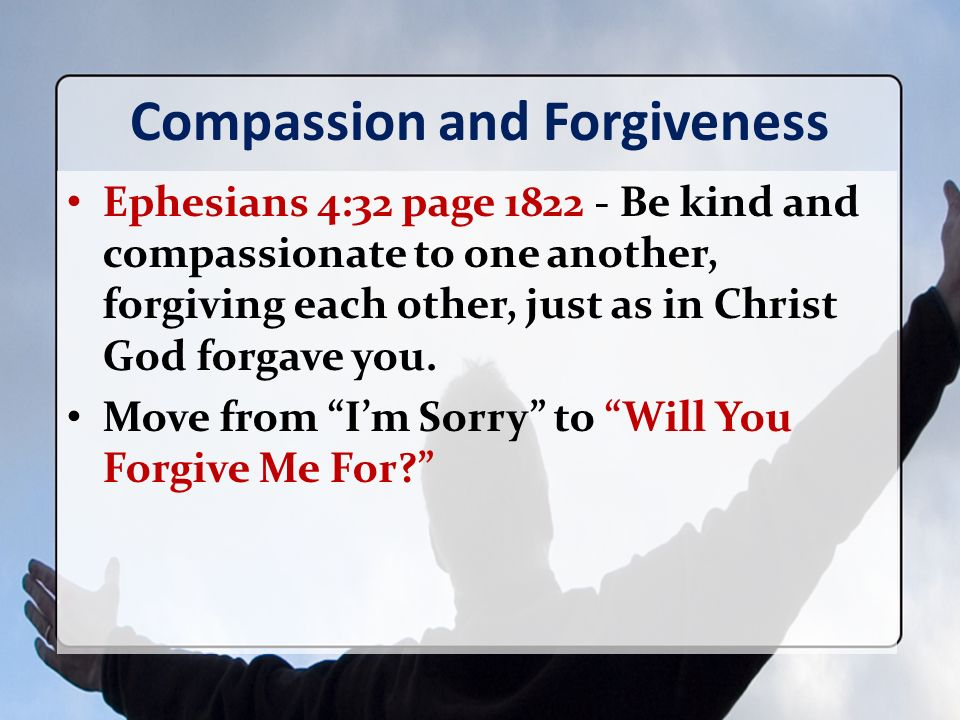 Compassion and Forgiveness Ephesians 4:32 page 1822 - Be kind and compassionate to one another, forgiving each other, just as in Christ God forgave you.