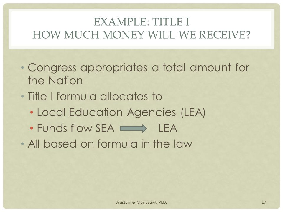 EXAMPLE: TITLE I HOW MUCH MONEY WILL WE RECEIVE.