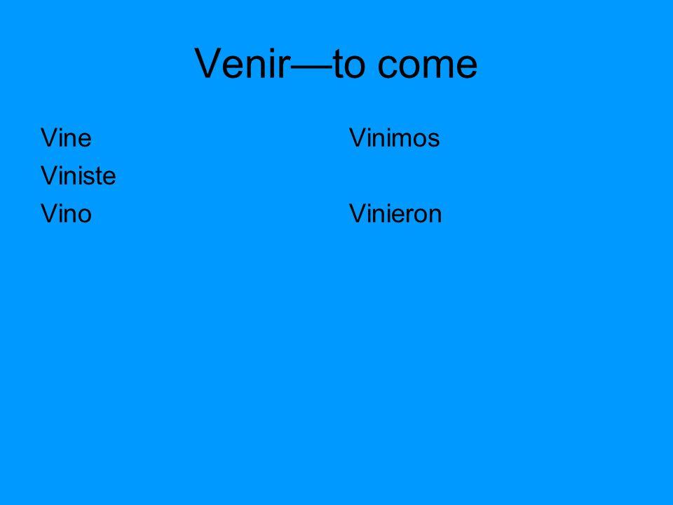 Venirto come Vine Viniste Vino Vinimos Vinieron