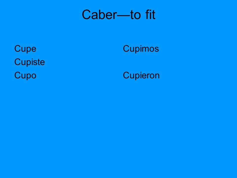 Caberto fit Cupe Cupiste Cupo Cupimos Cupieron