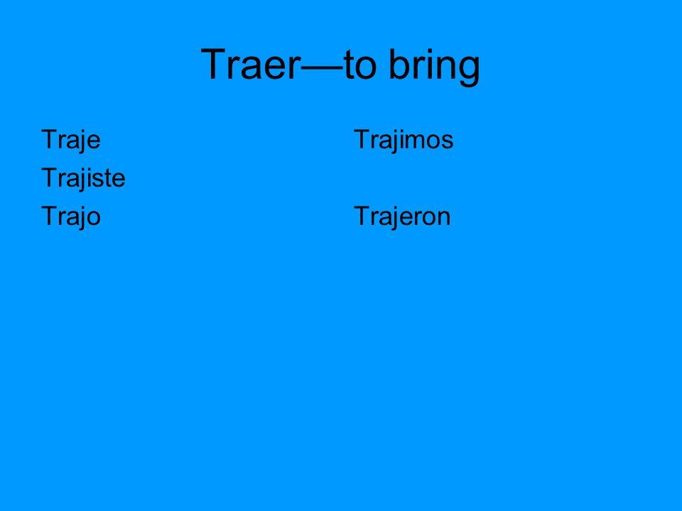 Traerto bring Traje Trajiste Trajo Trajimos Trajeron